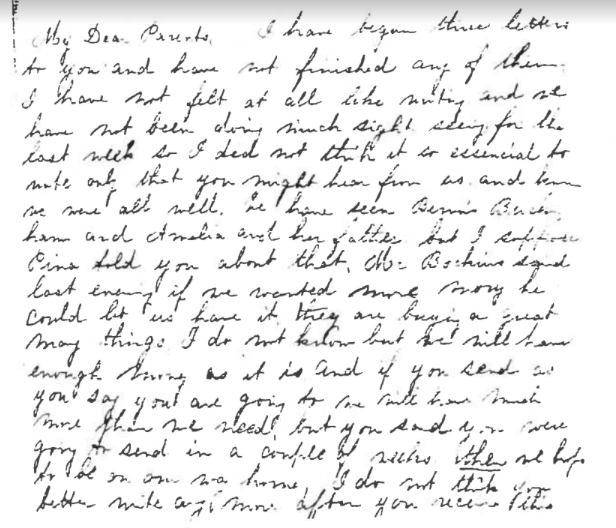 The opening of a rare fully handwritten letter from Ida Saxton [McKinley] to her parents, 1869. (McKinley Presidential Museaum)