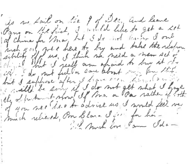 The conclusion and signature of a letter Ida Saxton [McKinley] wrote to her parents in 1869. (McKinley Presidential Museum)