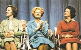 Incumbent First Lady Rosalynn Carter was joined by her predecessors Betty Ford and Lady Bird Johnson at the 1977 Houston Women's Conference. (carlanthonyonline.com)