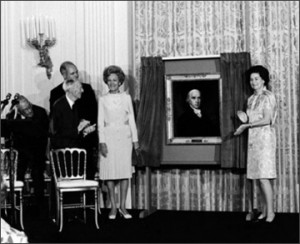 Incumbent First Lady Pat Nixon invited her predecessor Lady Bird Johnson to the unveiling of a donated life portrait of James Madison at the White House. (White House History)