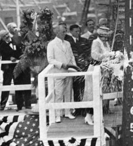 Edith Wilson christening the first World War I ship made by US contractors. (gwpda.org)