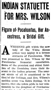 Newspaper story of Edith Wilson being given a Pocahontas statue. (Pinterest)