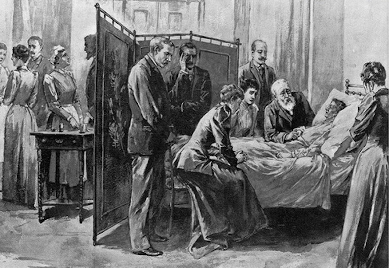 The American public was given a glimpse into the private last moments of First Lady Caroline Harrison on her deathbed in October 1892 with an illustrated newspaper depiction. (Harper's)
