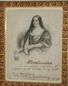 An engraving of Pocahontas among Mrs. Wilson's memorabilia now in the Woodrow Wilson House collection.