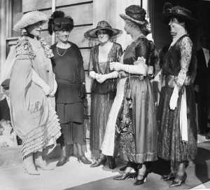 First Lady Florence Harding, at far left, with a group of political spouses, and then-Second Lady, her eventual successor Grace Coolidge at far right. (LC)