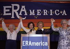 Rosalynn Carter continued the lobbying efforts of her immediate predecessor Betty Ford towards passage of the Equal Rights Amendment. They are joined here by Liz Carpenter (far left) former White Hosue press secretary to Lady Bird Johnson. (Pinterest)