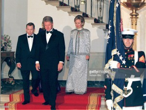 Mrs. Clinton in a designer gown worn during a state dinner for Václav Havel, president of Czech Republic. (WJCPL)