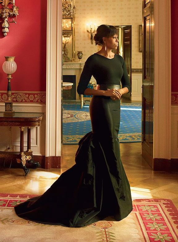 Michelle Obama has been confident and dramatic in her clothing choices as First Lady, generating  popular following. (Vogue)