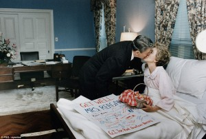 Nancy Reagan greeting her husband after she underwent a mastectomy. (RRPL)