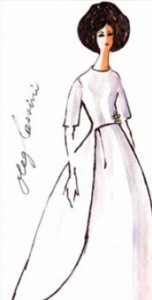 Mrs. Kennedy's inaugural gala gown; she often sketched her own preliminary designs. (Pinterest)