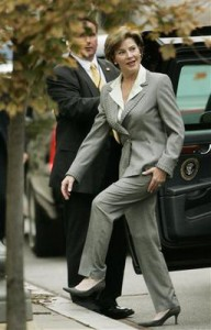 Laura Bush going to a public event in one of her tailored pants suits. (Getty)