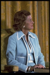 Betty Ford in her cool blue suit the day her husband became President. (GRFPL)