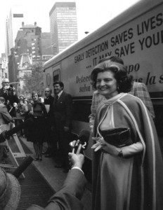 First Lady Betty Ford at a breast cancer detection mobile unit in New York City. (GRFL)