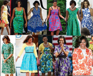 Mrs. Obama wore brightly-colored floral print dresses evoking a Fifties style popularized by Mamie Eisenhower. (Pinterest)