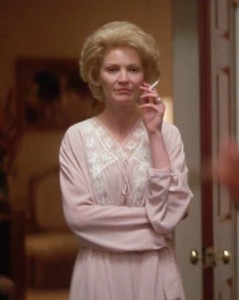 Only as depcited by actress Joan Allen in 1995 was Pat Nixon ever seen smoking; no known images show the First Lady doing so. (thefilmexperience.net)