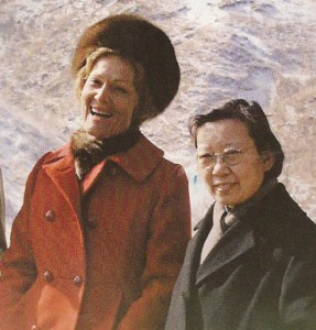 Pat Nixon in her red coat while in China. )Getty)