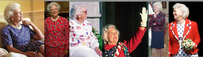 Barbara Bush wore a variety of red-white-and-blue configurations in different designs. (Pinterest)