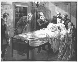 Lucretia Garfield was depicted at the sickbed of the President in 1881, but never shown on her own sickbed from that year. (Harper's)