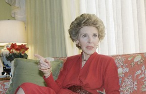 """The First Lady in her classic """"Reagan Red,"""" 1987. (AP)"""