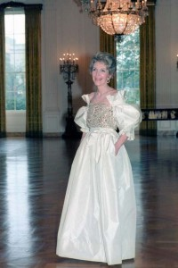 Mrs. Reagan in an evening gown worn for the President of Italy's state dinner. (RRPL)