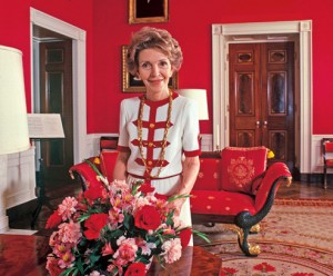 Mrs. Reagan in an Adolfo suit. (Vogue)
