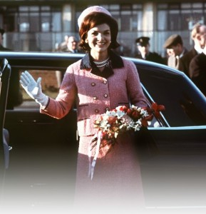 Mrs. Kennedy popularized the pillbox hat; seen here in the same pink suit worn at the time JFK was assassinated. (Corbis)