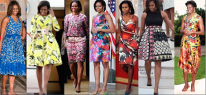 Mrs. Obama often wore colorful geometric prints. (Pinterest)