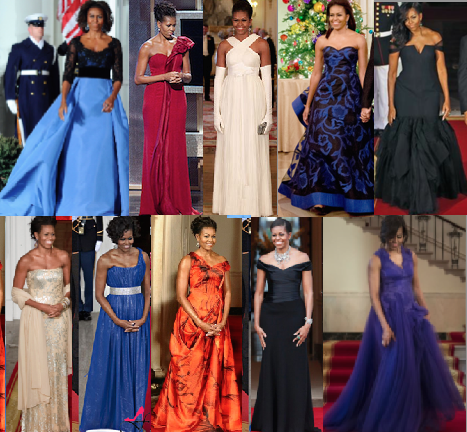 Michelle Obama evening gowns. (Pinterest)