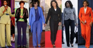 Like her two predecessors, Michelle Obama sported pants suits at public events. (Pinterest)