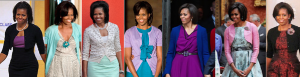 Michelle Obama generated a popular style of wearing sweaters with dresses at public events. (Pinterest)