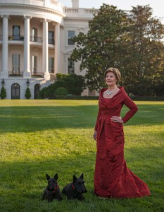 Laura Bush in her first inaugural gown. (Vogue)