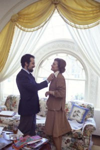 Mrs. Ford being fitted by her designer Albert Capraro. (GRFPL)