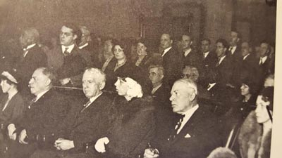 Eleanor Roosevelt taking in a hearing on New York legislature. (Wide World)