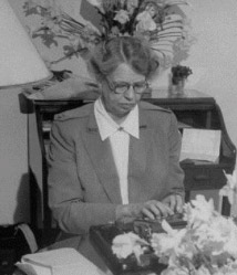 Eleanor Roosevelt (seen during World War II), traveled with a typewriter to peck out her own writing and make deadline, in case she was unable to dictate her magazine and newspaper columns. (Getty)