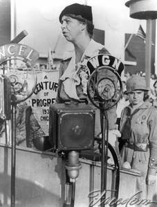 Eight months after becoming First Lady, Eleanor Roosevelt delivered a speech before a multitude of microphones that carried her remarks to the nation, via radio. (Getty)