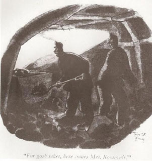 The famous New Yorker cartoon depicting coal miners as they react to the appearance of the First Lady descending towards them. (The New Yorker)