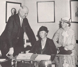 "Along with Democratic National Committee chair Jim Farley, Eleanor Roosevelt with women's political leader Molly Dewson, the initials of her name jokingly said to stand for ""More Women"" in government positions. (Social Security Administration)"