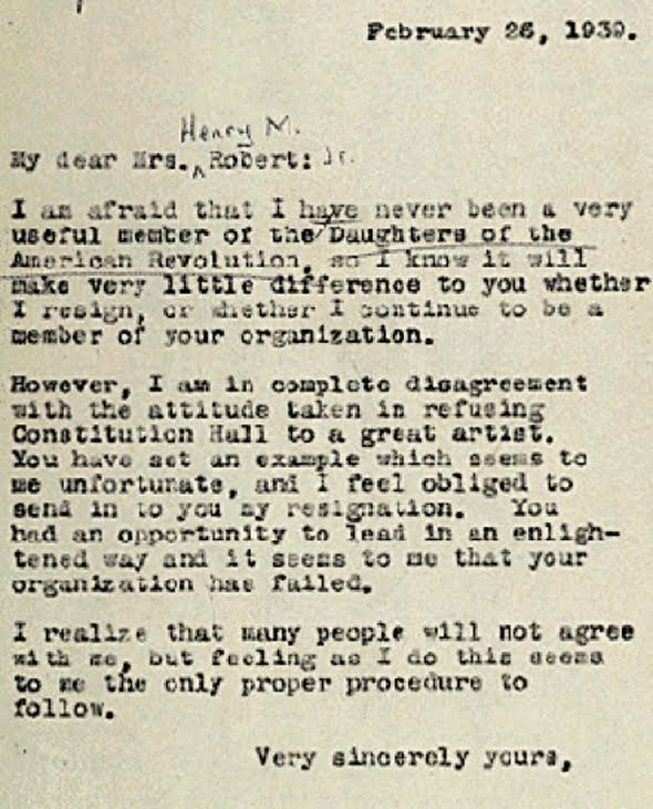 a draft of eleanor roosevelts resignation letter from the dar over its decision to adhere to