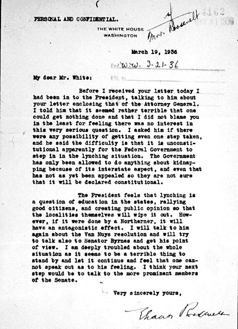 eleanor roosevelts frustration at not being able to prompt the president into action against lynching in