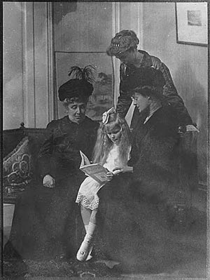 Eleanor Roosevelt as a young mother, posed with her late mother's sister, and maternal grandmother Mary Hall, who holds her great-granddaughter Anna. (FDRL)