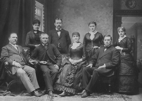 Grover (far left) and Rose Cleveland (seated at center) with their other  siblings. (Grover Cleveland Birthplace, Caldwell, New Jersey)