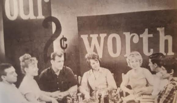 "Second from left, Hillary Rodham making her first television appearance on a local Chicago station, with her high school ""Cultural Values Committee."" (WJCPL)"