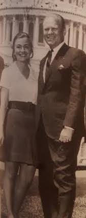 Hillary Rodham as a congressional intern with future president Gerald Ford. (WJCPL)