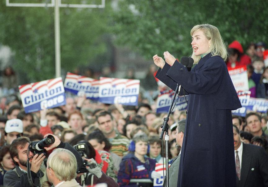 Hillary Clinton addressing crowds during the 1992 campaign. (Getty)