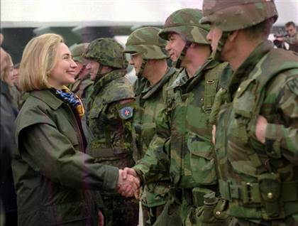 Hillary Clinton greets troops at Tuzla air base, Bosnia, March 25, 1996. (WJCPL)