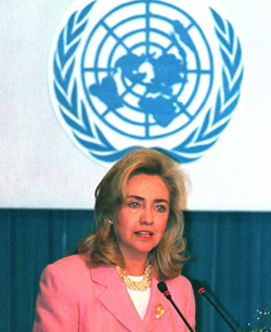 Hillary Clinton delivering her historic 1995 UN Conference on Women speech in China. (Getty)