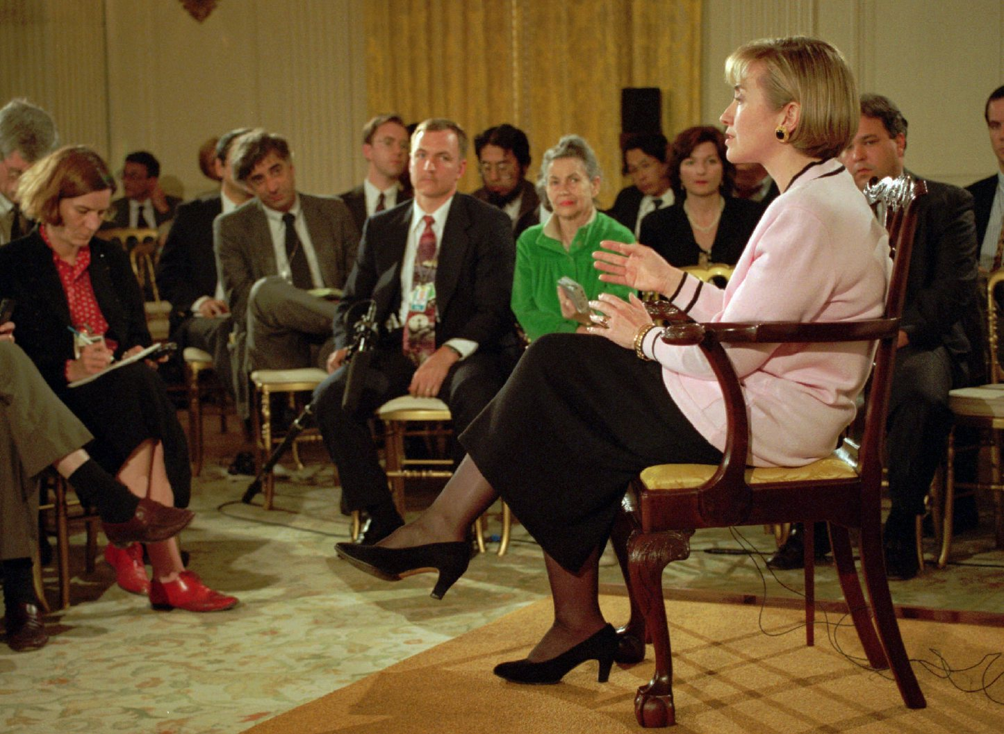 "Hillary Clinton's 1994 ""pink press conference"" addressing the Whitewater scandal and her windfall profits in cattle future trading. (Politifact)"