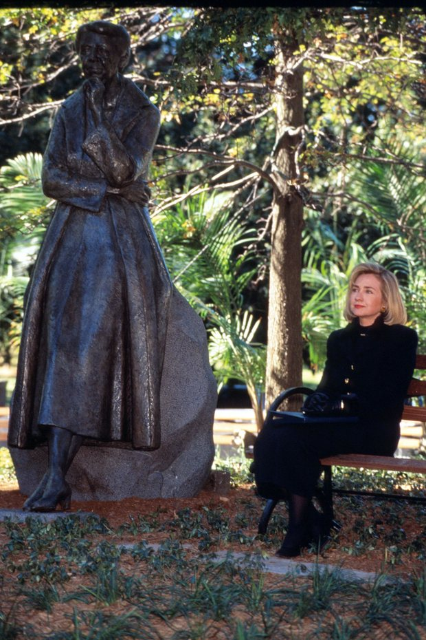 A contemplative Hillary Clinton following her unveiling of a statue of Eleanor Roosevelt in 1996, standing in New York's Riverside Park. (Getty)