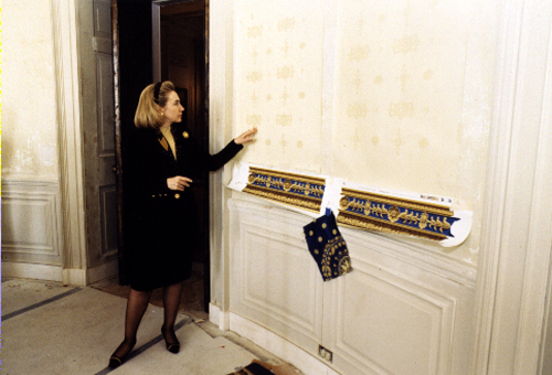 Hillary Clinton inspects the Blue Room refurbishment project. (WJCPL)
