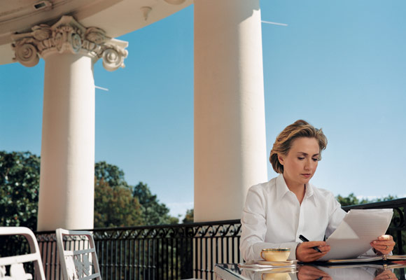 Hillary Clinton working on the South Portico. (Vanity Fair)